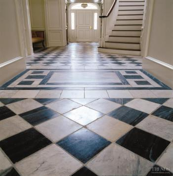 Gray and white floor tile