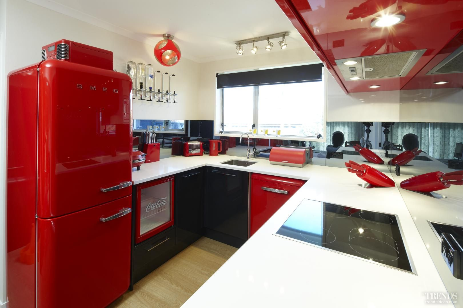 Retro chic bright red smeg kitchen