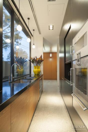 Black and tan – glossy entertainers kitchen