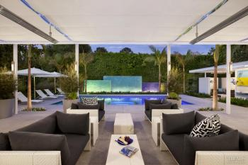 Well connected outdoor living space by interior designer Loren Judaken and landscape architect Katherine Spitz