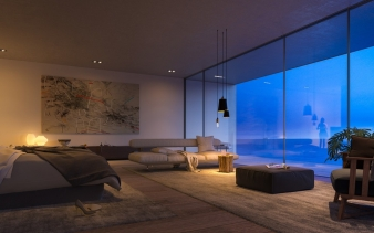 Master bedroom at a Superhouse