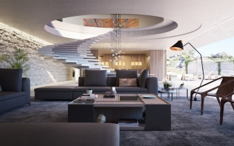 Spiral staircase and living area in a Superhouse