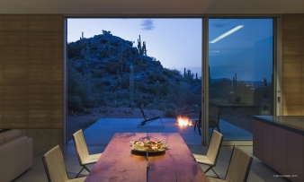 Dining area opening to the view in Tuscon mountain home