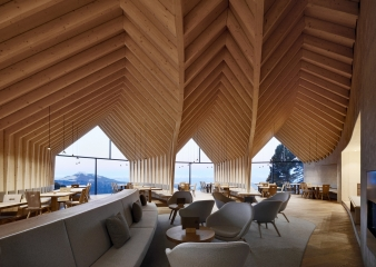 """The interior is defined by a complex, curvilinear and visible wood structure that gradually fades into walls and creates so called """"pockets"""" for intimacy"""