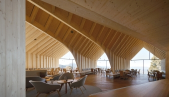 The entire hut is constructed with wood: structural elements and interior in spruce, the facade in larch, furniture in oak- all typical woods from the area