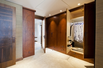 Built in wardrobes in renovated harbourside home by designer Claire Rendall