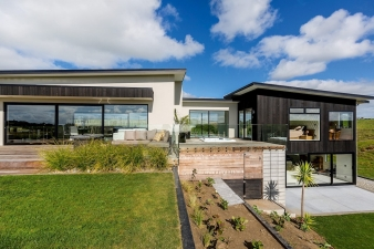 Sculptural welcome – this Fowler Homes Taranaki residence offers great street appeal