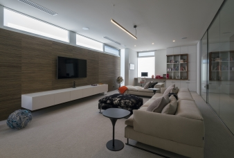 The home accomodates a second living room on the upper floor, which provides the opportunity for seclusion and privacy
