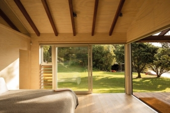 The small cabins are identical and positioned to take advantage of the view