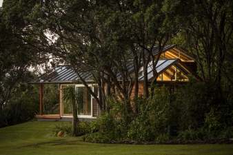 Roof glazing enables a lightness and connection to the bush above and around