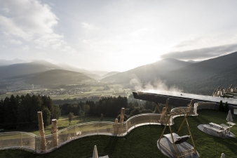 The Hotel Hubertus offers spectacular views of the Dolomites mountain range.