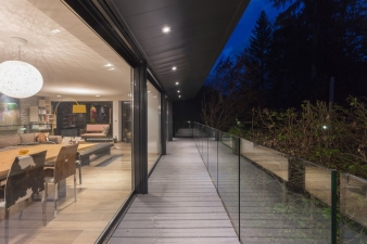 The addition provides seamless transition from indoors to outdoors