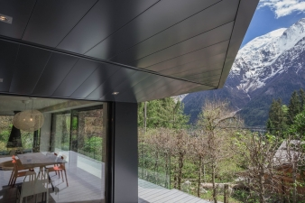 The addition to Chalet SOLEYÂ by  Chevallier Architectes provides virtually unrestricted views, while still being sensitively placed to minimise the effect on neighbouring properties