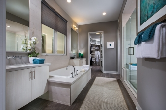 Master bathroom in one of the 30 residences at Marlowe by Robert Hidey Architects