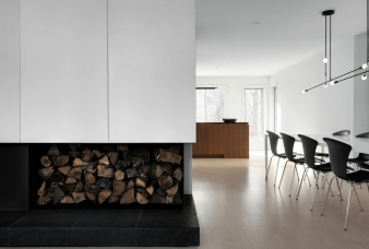 Living, dining, kitchen in Montreal renovated home by Appareil Architecture