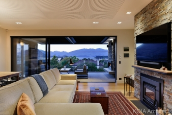 Because most of the living is done upstairs, the home required a large, functional outdoor area on that level