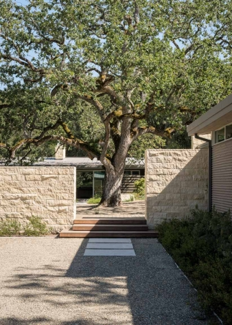 Limestone walls surround a courtyard with an old oak tree in this new home by Feldman Architecture