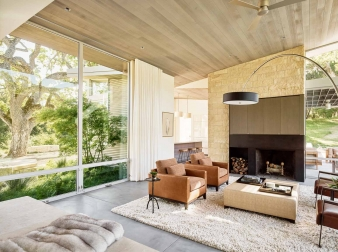Guests entering this home's great room  immediately experience dramatic ridgeline views