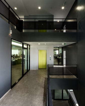 The elevator structure is positioned in an easily accessible, central location