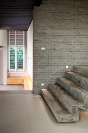 The ground floor of the house was constructed from reinforced concrete and masonry for stability