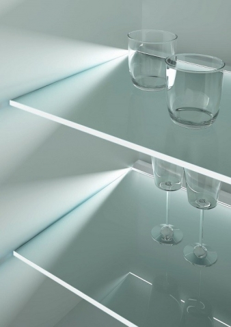 Toucan LED Lighting Profile for Glass Shelves. Diffused effect on frosted glass. Lights front strip on plain glass.. Image: 18