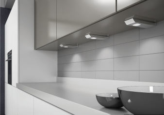 DOMUS Line™ Maya Spotlight. Brushed Stainless Steel Finish. Natural White & Warm White Light Colours. Image: 1