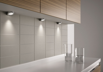 DOMUS Line™ Metris Spotlight with Angled Spacer. Chrome Plated, Satin Nickel & White Finish Options. Warm White & Natural White Light Colours.. Image: 5