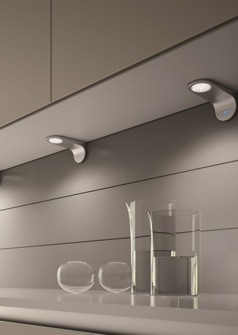DOMUS Line™ Kite Spotlight - Master & Slave System. Satin Nickel Finish. Natural White Light Colour.. Image: 2