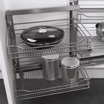 Vauth Sagel Wari Unit for Blind Corners With Saphir Chromed Wire Shelves. Image: 4
