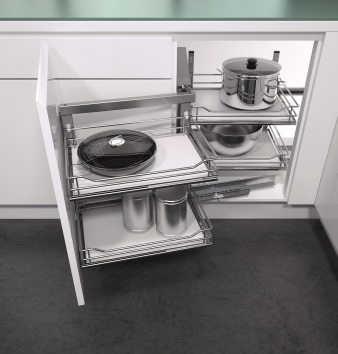 Vauth Sagel Wari Unit for Blind Corners With Premea Solid Base Shelves. Image: 2