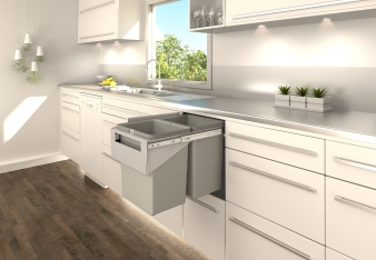 Tanova Simplex Kitchen Bins For Behind Hinged Doors: Options for Cabinets from 200mm to 400mm. Image: 2