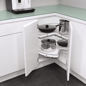 Vauth-Sagel Recorner Maxx for L-Shaped Corners: Shelves Rotate Independently. Image: 2