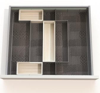 Open Space Drawer Organising System: Sample Layout for 600mm Drawer With Wooden Boxes. Image: 3