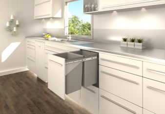 Tanova Simplex Kitchen Bins With Fixed Fronts: Options for Cabinets from 200mm to 400mm. Image: 4
