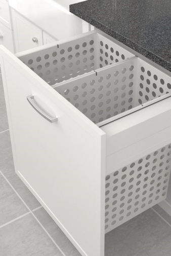 Tanova Deluxe Laundry: 800mm Cabinet, 2x65L Steel Baskets, Drawer Front Type. Image: 6