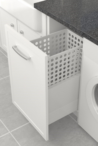 Tanova Simplex Laundry: 400mm Cabinet, 65L Steel Basket, Drawer Frame Insert Type. Image: 7