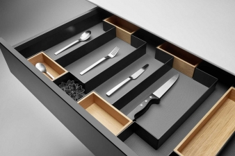 Open Space Drawer Organising System: Profiles and Metal Dividers In Black, With Wooden Boxes. Image: 1