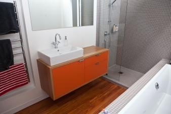 Add a punch of colour to a bathroom renovation. Image: 10