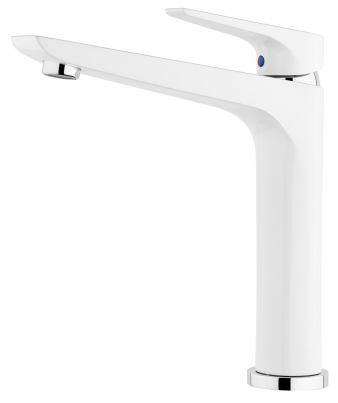Solitaire White/Chrome Sink Mixer. Image: 1