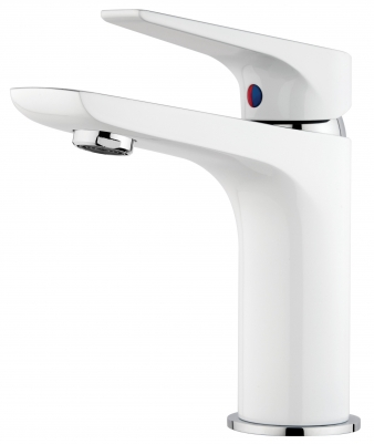 Solitaire White/Chrome Basin Mixer. Image: 4