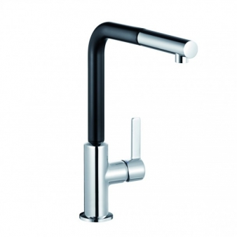 L-ine S Pullout Black/Chrome Sink Mixer. Image: 1