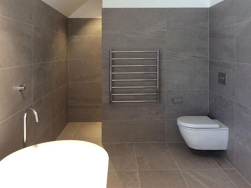 Bluestone using large format tiles in small spaces Bathroom tiles ideas nz