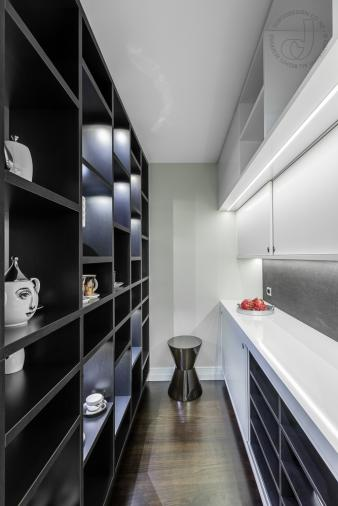 Sleek black and white scullery. Image: 2