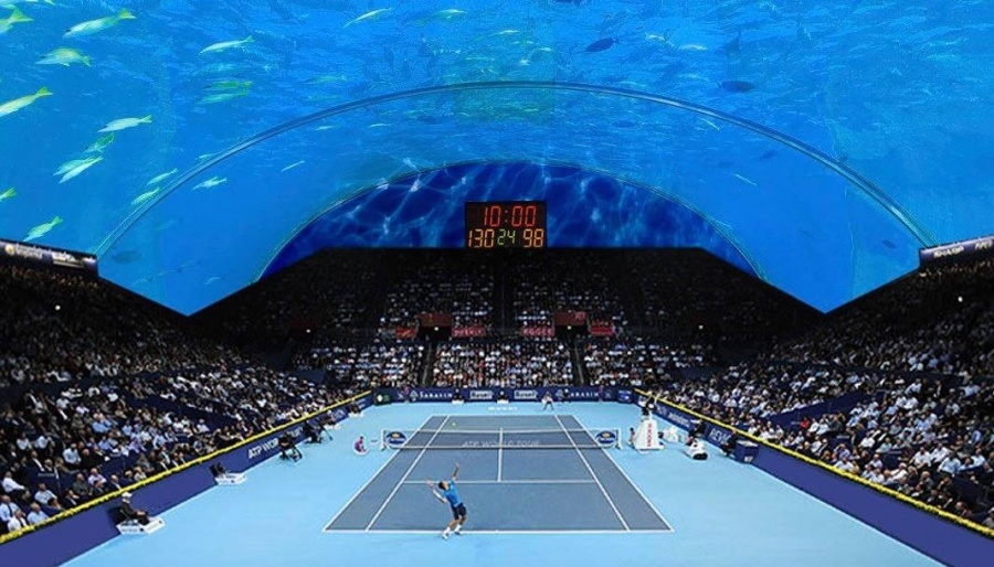 World S First Underwater Tennis Court